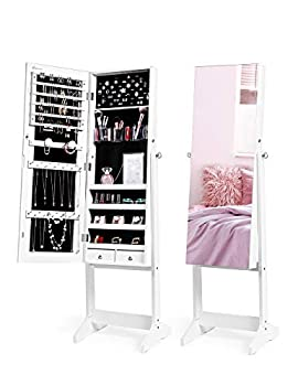Nicetree Jewelry Cabinet with Full-Length Mirror Standing Lockable Jewelry Armoire Organizer 3 Angel Adjustable White