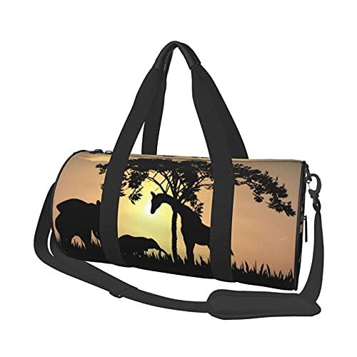 Afrikanische Safari-Silhouette Sport Gym Duffle Reisetasche für Männer Frauen kleine Seesack für Sport, Fitnessstudio und Wochenendausflug