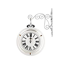 C.J Gallery Modern classic antique double wall clock, Solid timber, iron Gold/Silver (Silver)