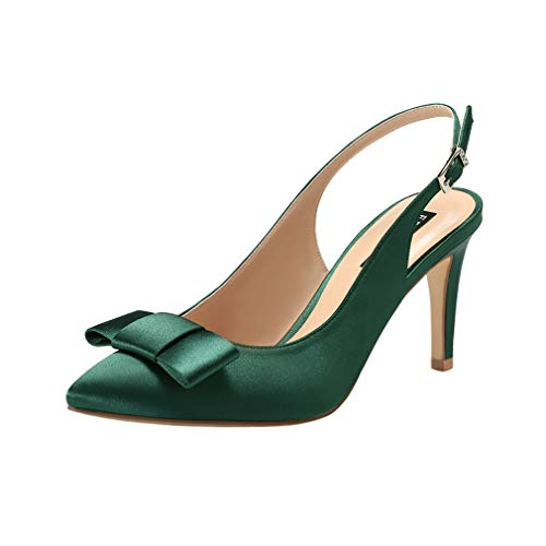 ERIJUNOR E2415 Pointy Toe Pumps Mid Heels Wedding Evening Party Prom Slingback Satin Shoes Green Size 9