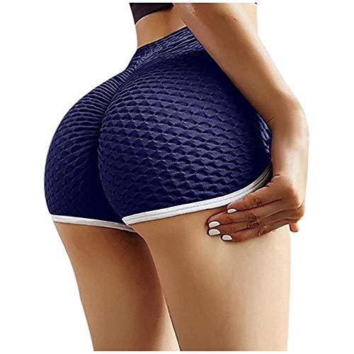 Bequem Leggings Damen Honeycomb Booty Hohe Taille Kurz Hose Atmungsaktiv Bodysui Bauchkontrolle Hip Lifting Anti Cellulite Kompressionshose für Sport Laufen Yoga Fitness...