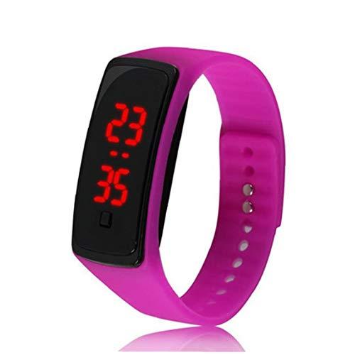 Hotaden El Reloj Unisex del Reloj del LED Digital con Silicona Brazalete del Reloj del Deporte Impermeable para Niños Niñas Pulsera de la luz Rosa roja Watch (incluida la batería)