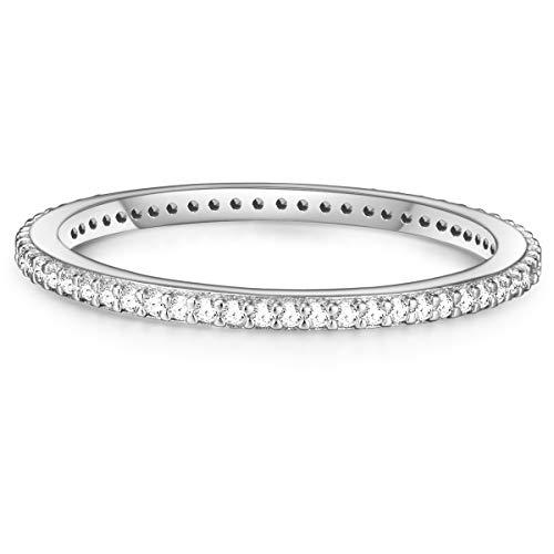 Glanzstücke München Damen-Ring Sterling Silber Zirkonia weiß - Memory Ring Stapel-Ring filigran, Silber Gr. 52 (16.6)