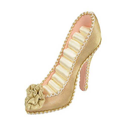 8-Ring Sparkly High Heeled Shoe Ring Holder with Flower - Gold