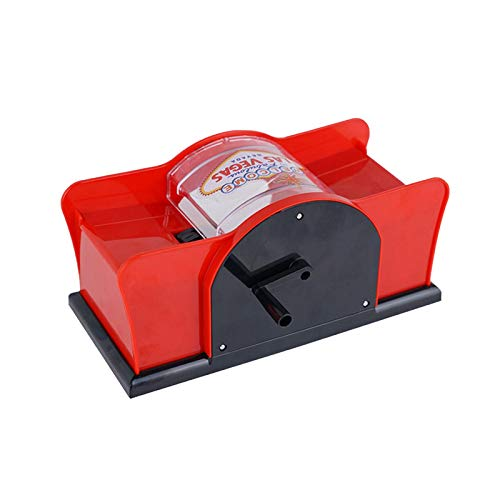 Card Shuffler 2 Deck Hand Cranked Card Shuffler Plastic Card Shuffler Machine, fácil de usar, para Home Party Club Poker Games Casino Distribuidor (Rojo)