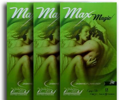 Max Magic Dotted & Play Night With Power And Flavored Condoms (JASMINE Flavored dotted condom) - 3 Packs (10 pieces per pack)(JASMINE)