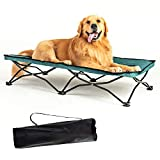 YEP HHO Large Elevated Folding Pet Bed Cot Travel Portable Breathable Cooling Textilene Mesh Sleeping Dog Bed 46 Inches Long (Green)