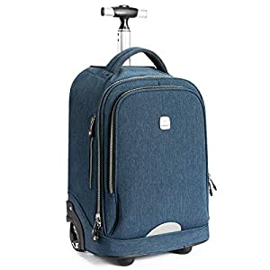 WEISHENGDA 18 inches Wheeled Rolling Backpack for Men Women and School Students Travel and Work Rolling Trolley Bag, Light Blue by