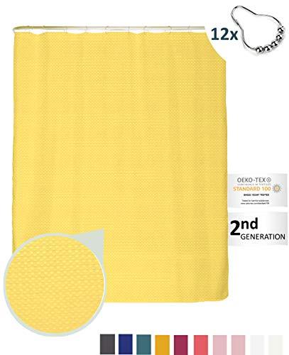 arteneur® - Sonnen Gelb - Premium Duschvorhang 180x200 inkl. 12 Edelstahl-Ringe – Anti-Schimmel Struktur-Stoff, Beschwerter Saum, Blickdicht, Wasserabweisend, Waschbar und inkl. E-Book