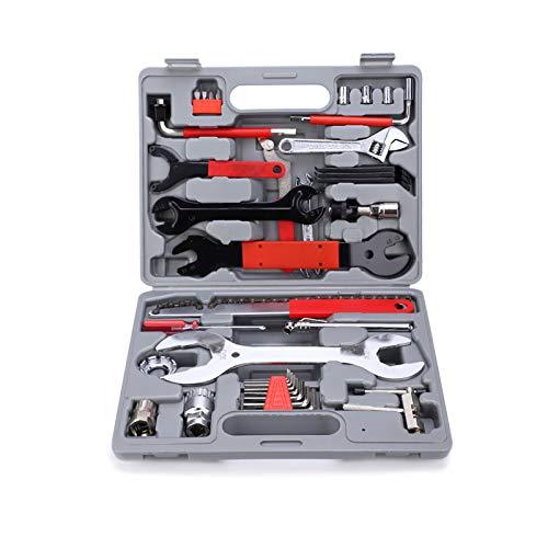 Montloxs 44PCS Kit de herramientas para bicicletas Juego de herramientas de reparación de mantenimiento de bicicletas Juego de herramientas de llave de mano con estuche
