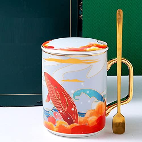 Creativo de dibujos animados ballena taza de cerámica oficina negocio taza hogar desayuno leche taza Beiming you Kun taza de café C