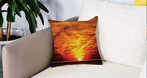 Square Soft and Cozy Pillow Covers,Decoración del cielo, Puesta de sol sobre el mar Horizonte dorado Vela al aire libre Anochecer ,Funda para Decorar Sofá Dormitorio Decoración Funda de almohada.