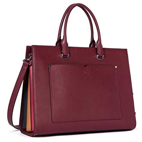 Aktentasche für Frauen Leder Schlank Damen Aktenkoffer Business Arbeitstasche passen 15.6 Zoll Laptop Grau Wine Rot