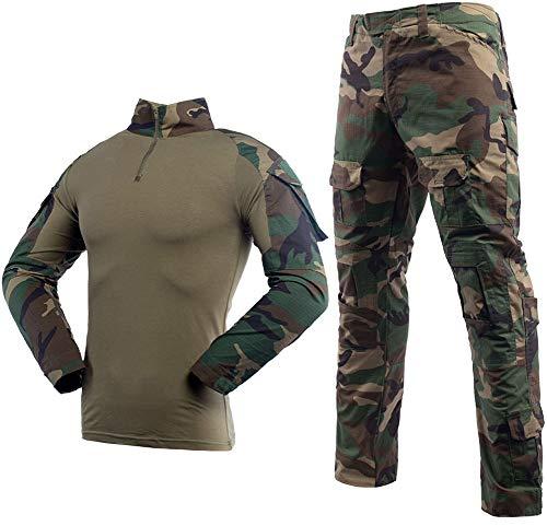 Taktischer Anzug für Herren, Kampf-Hemd und -Hose, Langarm, Ripstop, MultiCam, für Airsoft, Wald, Jagd, Militär, BDU, Uniform Gr. XL, Dschungeltarn