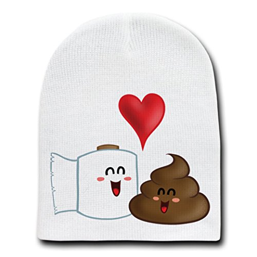 Best Friends Funny Toilet Paper & Poop in Love - White Adult Beanie Skull Cap Hat