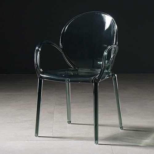 CENPEN Silla de Comedor nórdico Muebles de Cocina Sillas de Comedor Personalizado Sillón Simple Silla de Espalda Transparente de Cristal plástico Simple (Color : Transparent Green)