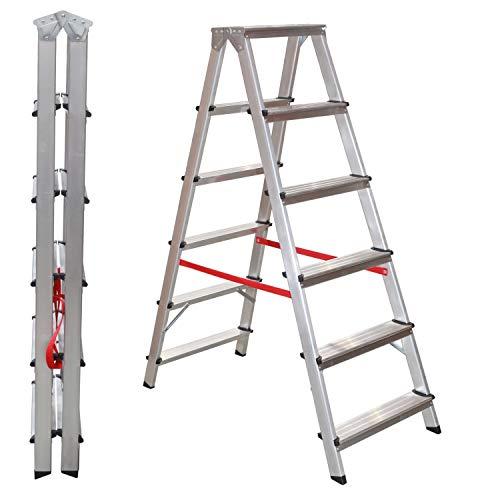 NAWA Escalera Tijera Doble Acceso 3 Peldaños. Escadote Duplo Doméstico em Alumínio 3 degraus. EN 131 Capacidad Máx. 150 kg. Hecho en Europa