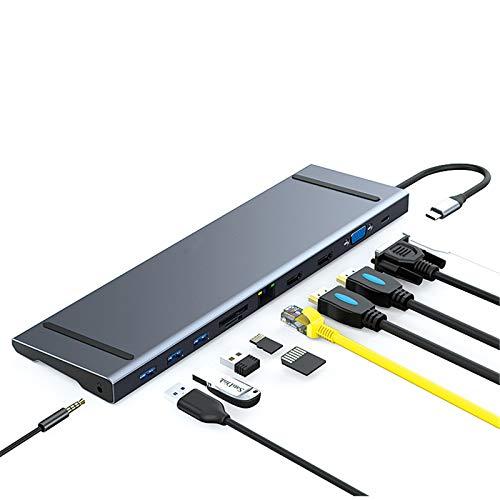 ZEIYUQI Docking Station HUB USB 3.0,Net Work Card Reader,Type C Cable Fast Charging,USB Splitter For Laptop Desktop Accessories