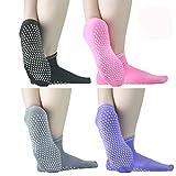 Sticky Grips Socks For Men Women - ELUTONG 4 Pack Thickening Tile/Wood Floors Non Skid Slip Barre...