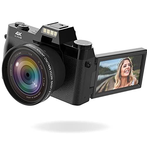 Vlogging Camera, 4K Digital Camera for YouTube with WiFi, 16X Digital Zoom, 180...