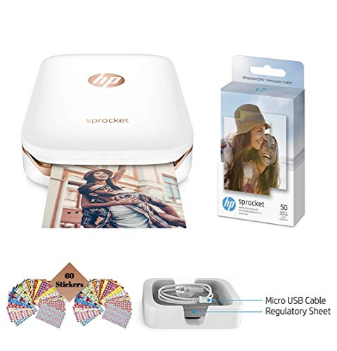 HP Sprocket Photo Printer, Print Social Media Photos on 2x3 Sticky-Backed Paper (White) + Photo Paper (50 Sheets) + USB Cable + 60 Decorative Stick-On Border Frames