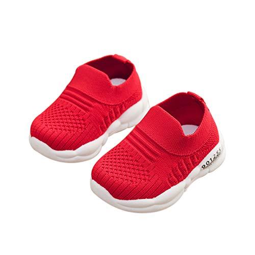 DEBAIJIA Zapatos para Niños 3-18M Bebé Caminan Zapatillas Cordones Transpirables Malla Ligera TPR-Materiale 18/19 EU Rojo (Tamaño Etiqueta 18)