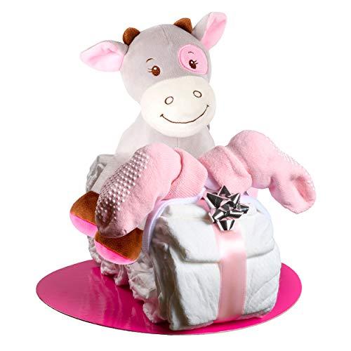 Windeltorte Motorrad in Blau oder Rosa mit Pony-Spieluhr von Homery, perfekt als Geschenk für Junge oder Mädchen als Windelmotorrad zur Baby-Party oder Geburt – Handmade fair hergestellt
