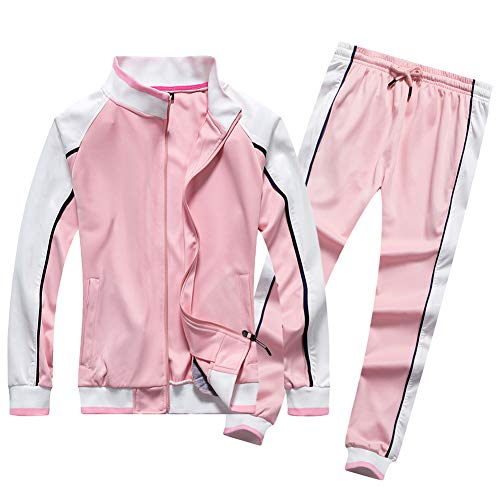 Women's Workout Jacket Set Full Zip Long Sleeve Running Sweatshirt, Pink-S