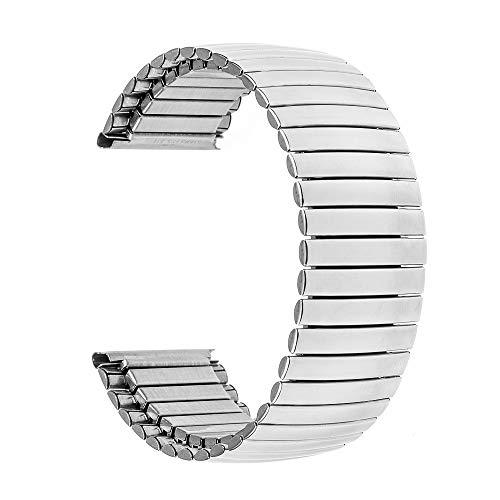 DFKai1run Correa de Acero Inoxidable, Elástica de Acero Inoxidable Correa de Reloj de 16 mm 18 mm 20 mm 22 mm 24 mm reemplazo Banda de Reloj de la Correa de Enlace Universal Pulsera de Plata Deportes