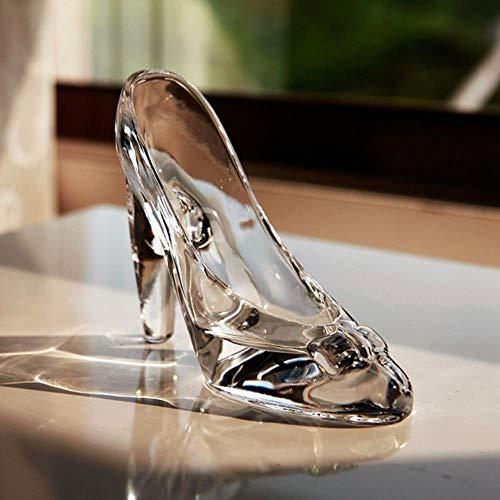 LAI Zapatos de Cristal Cristal Regalo de cumpleaños Decoración del hogar Cenicienta Zapatos de tacón Alto Zapatos de Boda Figuras Miniaturas Adorno, Transparente, S