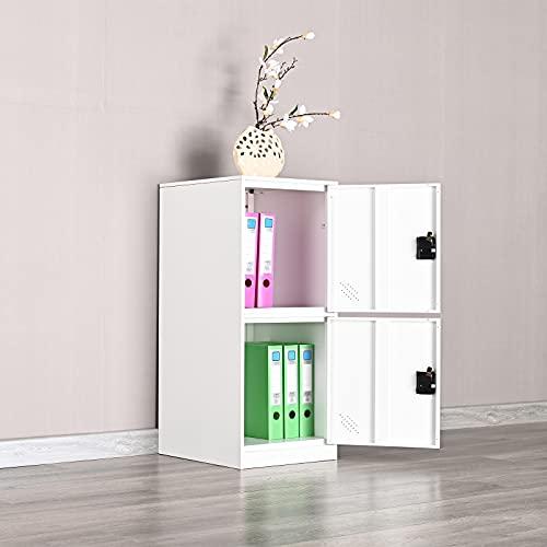 MECOLOR Taquilla vertical de un solo nivel con candado con cierre de 2 o 3 compartimentos de almacenamiento para empleados, hogar, oficina, escuela, niños (blanco completo, P2V) (blanco completo, P2V)