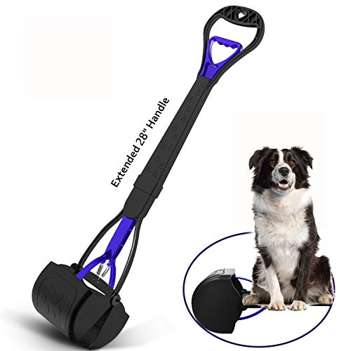 KEEOU 28'' Long Handle Pet Pooper Scooper for Dogs, [No Bending-Over Design] Unbreakable High Strength Materials, Dog Poop Scooper & Pick Up Jaw Scooper, Durable Spring for Grass and Gravel Pick up