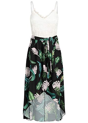 Styleboom Fashion® Damen Kleid Lace Strap Chiffon Dress Tropical Print Sommerkleid schwarz Weiss, Gr:M