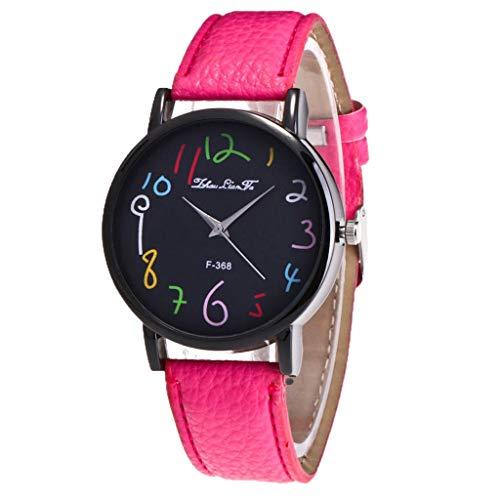 LABIUO Damenuhren, Fashion Classic Analoge Quarz-Armbanduhr mit PU-Leder(Hot Pink,Einheitsgröße)