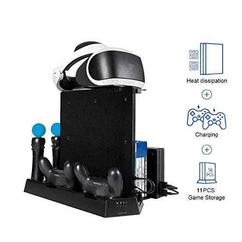 3 in 1 Multi Ladestation Ständer mit 2 Lüfter für Playstation PRO / PS4 Slim/PS VR, PS4 Controller Docking Station Ladegerät, 11 Kartensteckplatz, Vertikaler Standfuß PSVR Headset Halterung