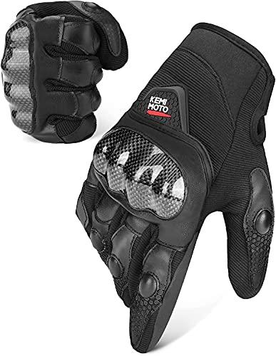 Guanti da moto da uomo, estivi con caviglia, 3 dita touch screen, traspiranti, per moto, ciclismo, campeggio, attività all aperto e sport