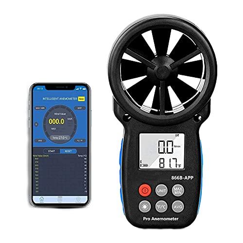 Anemómetro Digital con Control Aplicación Inteligente&Soporte de Registro,Inalámbrico Bluetooth Medidor de Velocidad del Viento para Medir la Velocidad del Viento,Temperatura y Enfriamiento del Viento