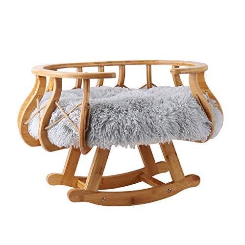 QNMM Cama de Lujo del Gato con El Cojín de Cama Suave Felpa - Durable Marco de Madera Cat Juguetes: Ligera de Tamaño Mediano Gato O Un Perro Pequeño