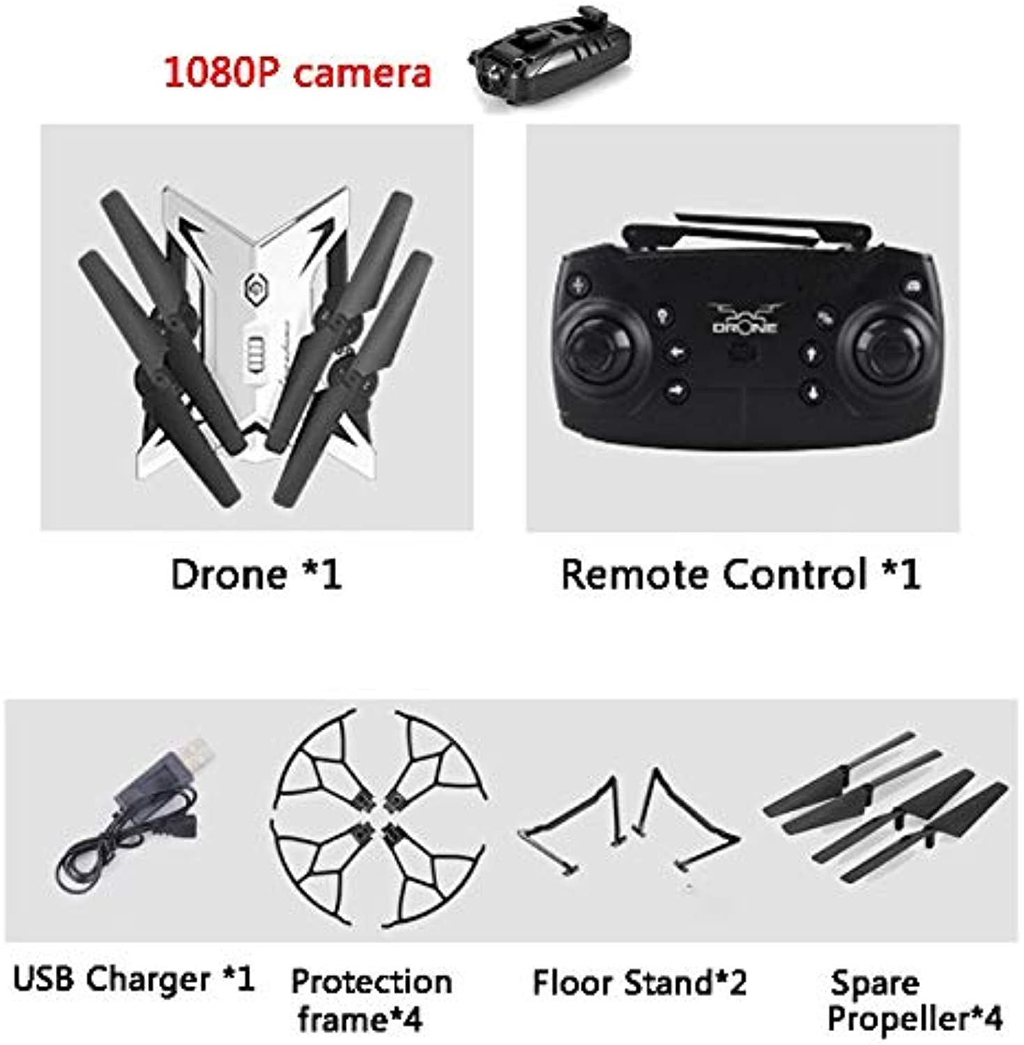 Generic KY601S RC Helicopter Drone with Camera HD 1080P WiFi FPV Selfie Drone Professional Foldable Quadcopter 20 Minutes Battery Life 1080p CameraWhite