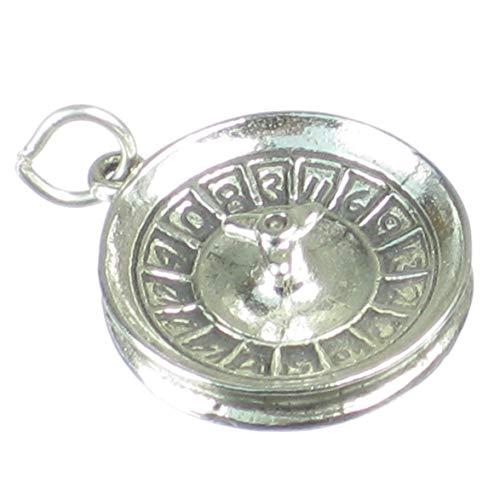 Cilindro de Ruleta de plata de ley 925 para pulsera. 1 x colgantes Casino SSLP1148
