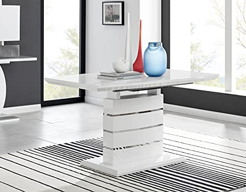 Renato Black And White Modern Stylish High Gloss Glass Large Extending Dining Table 6 8 10 Seater (Dining Table Only)