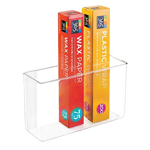 "mDesign Modern Plastic Adhesive Cabinet Storage Organizer Bin for Boxed Sandwich Bags, Plastic Wrap, Aluminum Foil, Parchment/Wax Paper, 3.5"" x 11"" x 6.5"" - Clear"