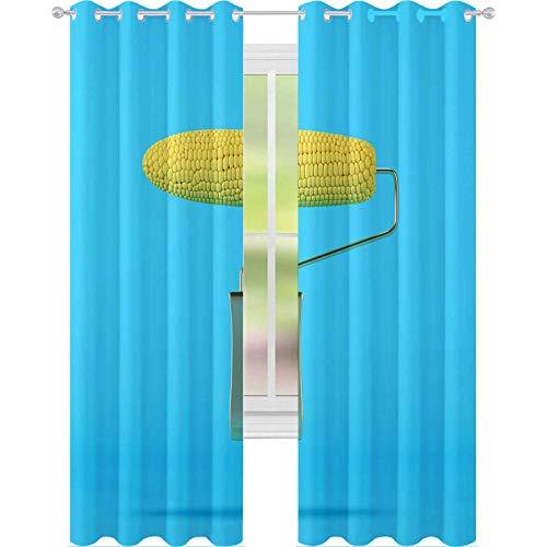 YUAZHOQI Cortina de ventana Drape Rodillo de pintura Maíz sobre fondo azul Concepto mínimo comida 52 'x 63' Cortinas personalizadas