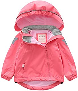 Tronet Baby Winter Warm Coat Toddler Girls Casual Long-Sleeved Solid Color Plus Velvet Hooded Windproof Rainproof Jacket