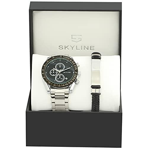 SKYLINE Reloj Hombre Cronografo y Pulsera, Acero Inoxidable, 3 ATM, Movimiento Cuarzo...
