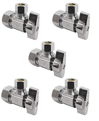 Heavy Duty 1/4 Quarter Turn Angle Shut Off Valve Squared Body 1/2 in. NOM Comp Inlet x 3/8 in. OD Compression Outlet Chrome Plated Brass (5 Pack)