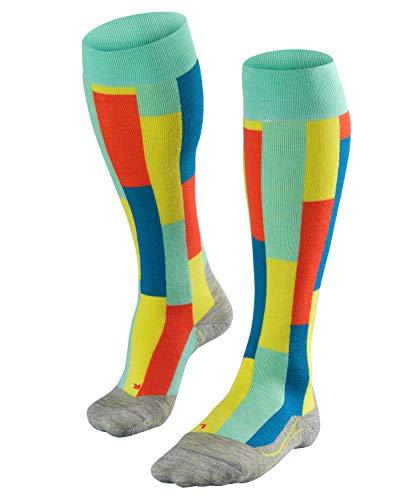 FALKE Damen Skisocken SK4 Brick, modische Skistrümpfe mit Merinowolle, Kniestrümpfe mit Vollplüsch zum Skifahren, gute Wärmeisolation, leichte Polsterung, 1er Pack, Blau (Fiji 6423), Größe: 37-38