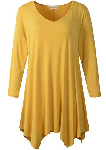 LARACE Plus Size Tunic Tops for Women Asymmetrical 3/4 Sleeve Shirts V Neck Flowy Blouse for Leggings, Yellow 2X
