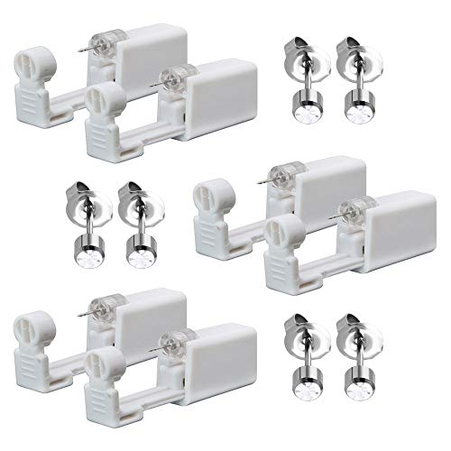 Cyleibe 6Pcs Disposable Ear Piercing Gun with Ear Studs No Pain Safety Ear Piercing Gun Kit Tool for Girls Boys Women Men