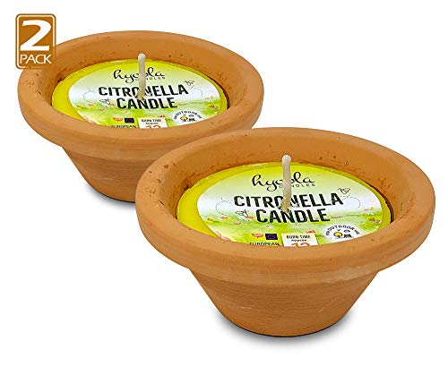 Hyoola Citronella Candles in Hand Painted Terra Cotta Bowl - 2 Pack - 12 Hour - Large Flame, Insect and Mosquito Repellent Effect, European Made
